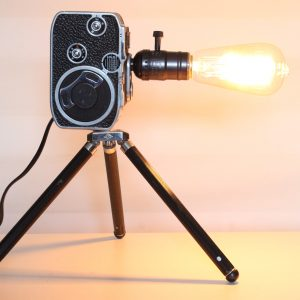 Original Vintage Bolex Movie Camera Repurposed Upcycled Desk Lamp With Tripod Stand