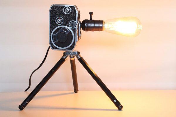 Original Vintage Bolex Movie Camera Repurposed Upcycled Desk Lamp With Tripod Stand