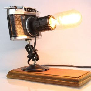Original Vintage Camera Repurposed Upcycled Edison Desk Lamp - Retro - Exa