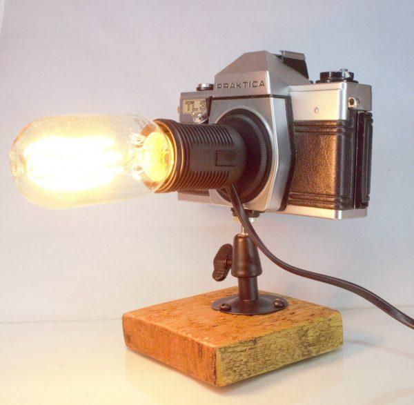 Original Vintage Camera Repurposed Upcycled Edison Desk Lamp - Retro - Praktica