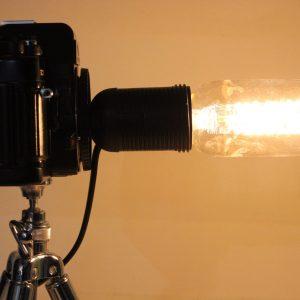 Vintage Camera Repurposed Upcycled Edison Desk Lamp - Retro - Praktica