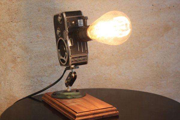 Original Vintage Retro Movie Camera Repurposed Upcycled Desk Lamp - Bolex