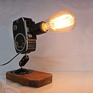 Repurposed Upcycled Original Vintage Movie Camera Desk Lamp - Retro - Edison Bulb