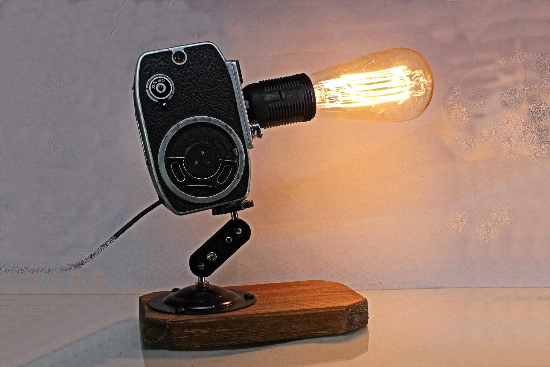 Vintage Movie Camera Light for Table or Desk-- Desk Lamp--Vintage ...