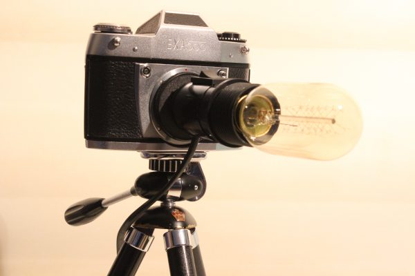 Vintage Exa Classic Camera Repurposed Upcycled Edison Desk Lamp