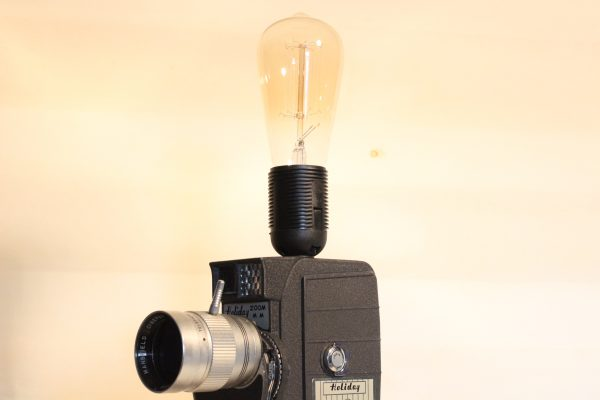 Vintage Holiday Movie Camera Repurposed Upcycled Desk Lamp