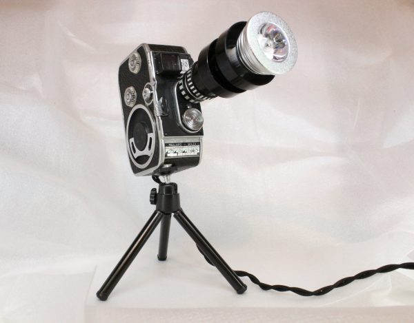 Vintage Retro Stylish Bolex Movie Camera Colour Changing LED Table Lamp With Remote Control