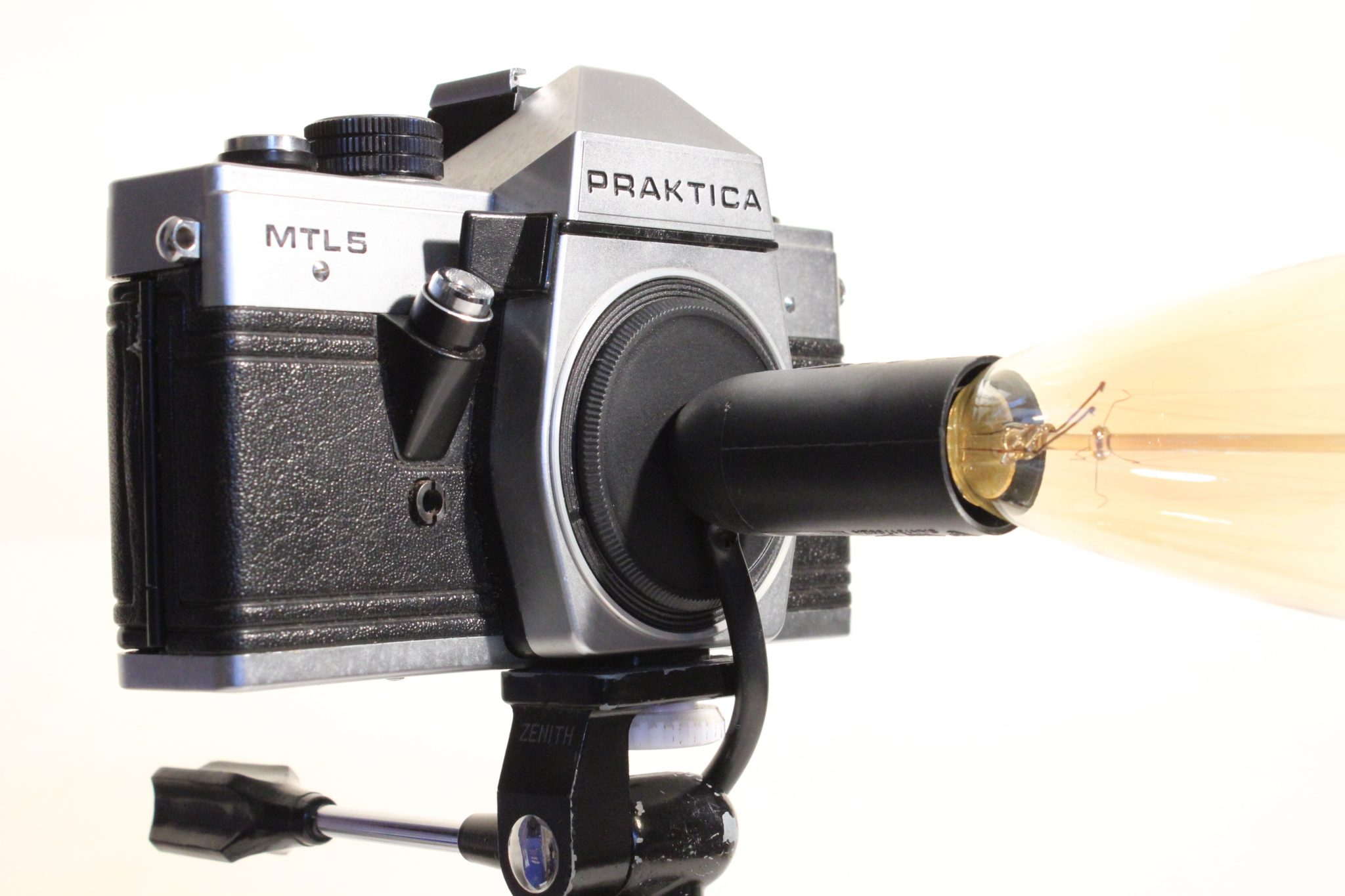 Vintage classic praktica camera repurposed upcycled edison desk lamp