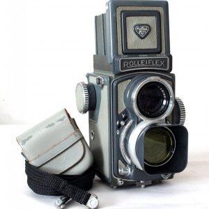 Rolleiflex Baby Grey 4×4 Twin Lens Reflex Camera (TLR) Model K5 1957